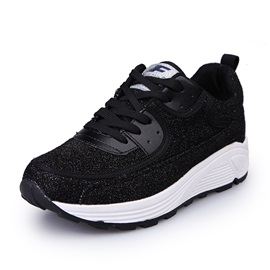 Sequin Lace-Up Thread Women's Fashion Sneakers