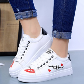 PU White Lace-Up Platform Cheap Women's Shoes