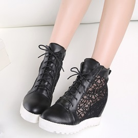 PU Lace-Up Platform Lace Hidden Heel Women's Sneakers