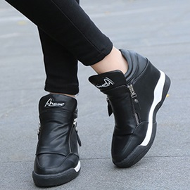PU Zipper Platform Hidden Heel Women's Sneakers