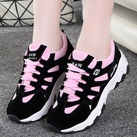 Cloth Lace-Up Color Block Thread Women's Sneakers
