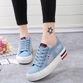 Denim Lace-Up Platform Simple Women's Sneakers
