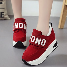 Cheap PU Velcro Platform Hidden Heel Women's Sneakers