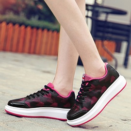 Mesh Lace-Up Platform Thread Colorful Women