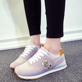 Nubuck Leather Lace-Up Bear Women's Sneakers