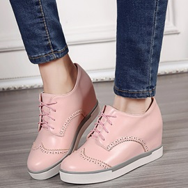 PU Lace-Up Hollow Hidden Heel Plain Women