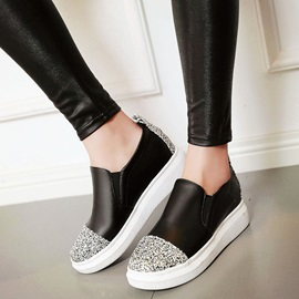 PU Platform Sequins Slip-On Women's Sneakers