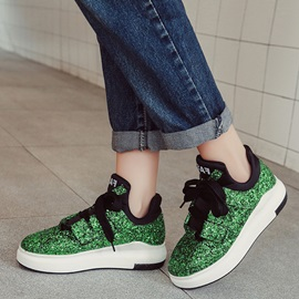 Sequins Lace-Up Round Toe Glitter Women's Sneakers