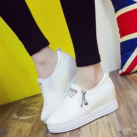PU Zipper Hidden Heel Solid Color Women's Sneakers