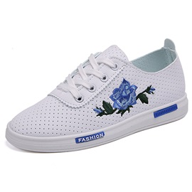 PU Lace-Up Embroidery Platform Women's Chic Sneakers