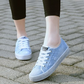 Denim Worn Lace-Up Women's Nice Sneakers
