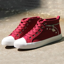 Canvas Lace-Up Zipper Rivets Women's Sneakers