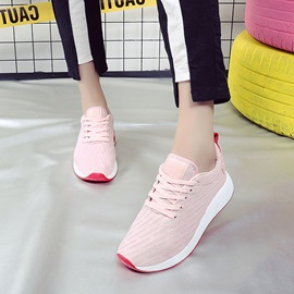 Spandex Lace-Up Rubber Color Block Women's Sneakers
