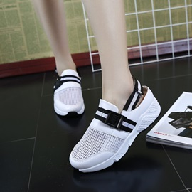 Mesh Velcro Stripe Buckle Women's Sneakers