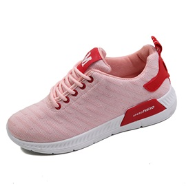 Mesh Round Toe Lace-Up Letter Women's Sneakers