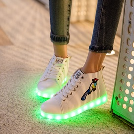 PU Embroidery LED-Light Animal Women's Sneakers