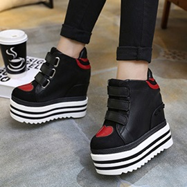 PU Velcro Hidden Heel Color Block Women's Sneakers