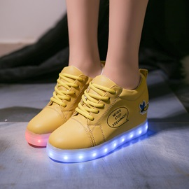 PU LED Light Print Letter Lace-Up Women's Sneakers