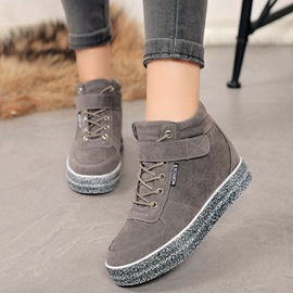 PU Cross Strap Velcro Hidden Heel Women's Sneakers
