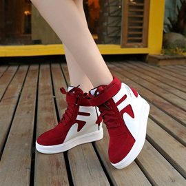 Faux Suede Patchwork Hidden Heel Women's Sneakers