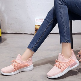 Mesh Lace-Up Round Toe Women's Sneakers
