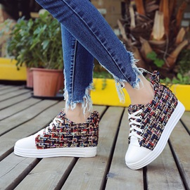 Cloth Lace-Up Hidden Elevator Heel Women's Sneakers