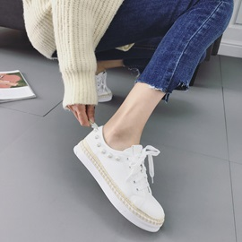 PU Beads Lace-Up Women's Skater Shoes
