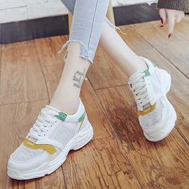 Mesh Color Block Lace-Up Women's Sneakers