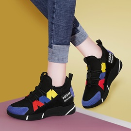 Lace-Up Round Toe Color Block Women's Sneakers