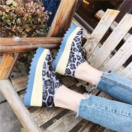 Lace-Up Round Toe Leopard Print Women's Sneakers