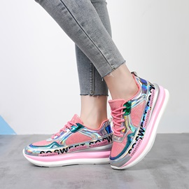 Metallic Lace-Up Round Toe Wedge Women's Sneakers