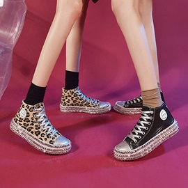 Round Toe Platform Lace-Up Casual Sneakers