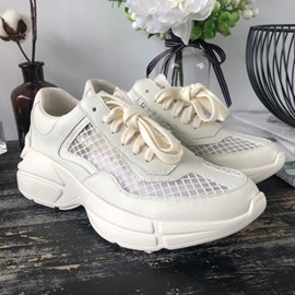 Lace-Up Platform Round Toe Wedge Heel Sneakers