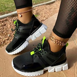 Cross Strap Round Toe Lace-Up Color Block Sneakers