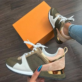 Low-Cut Upper Lace-Up Round Toe Casual Sneakers