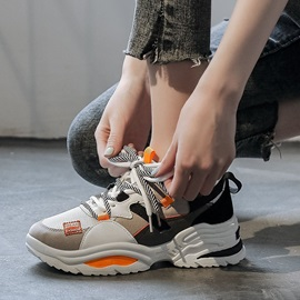 Round Toe Lace-Up Low-Cut Upper Patchwork Sneakers