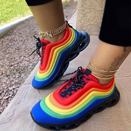 Round Toe Lace-Up Platform Color Block Sneakers