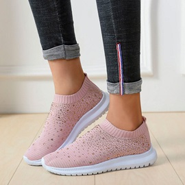 Rhinestone Slip-On Round Toe Flat With Sneakers