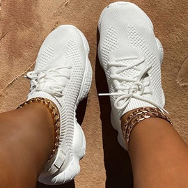 Low-Cut Upper Lace-Up Round Toe Plain Sneakers