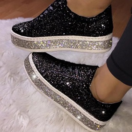 Sequin Lace-Up Round Toe Casual Sneakers