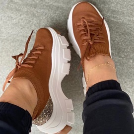 Lace-Up Lace-Up Round Toe Western Sneakers