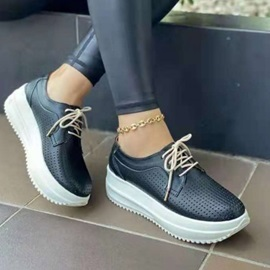 Round Toe Lace-Up Lace-Up Western Sneakers