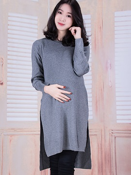 Simple Long Sleeve Side-Slit Maternity Dress