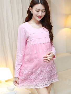 Candy Color Lace Patchwork Maternity T-Shirt