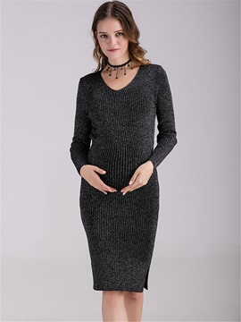 Slim-Fit Solid Color Maternity Sweater Dress