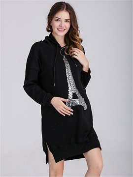 Relaxed Fit Printed Maternity Oversized Hoodie