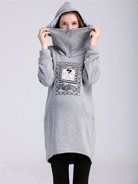 Chic Zip-Front Printing Maternity Hoodie