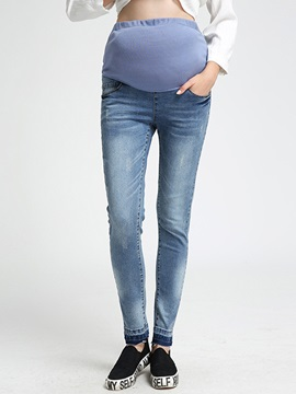 Stylish High-Waist Patchwork Maternity Jean