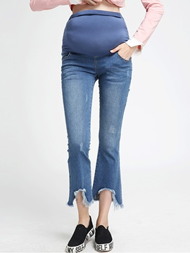 Chic Flared Rough Selvage Maternity Jean