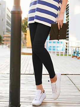 Slimming Plain Pleated Maternity Leggings